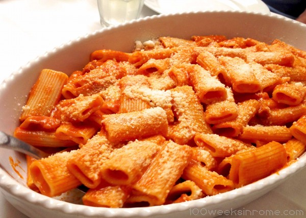 Rigatoni alla Amatriciana – Fresh Rigatoni pasta with a spicy tomato sauce, sauteed guanciale, and topped with either pecorino or parmesan.  (this recipe seems to vary)