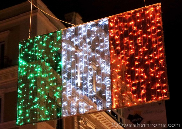 Rome Christmas Lights Italian Flag