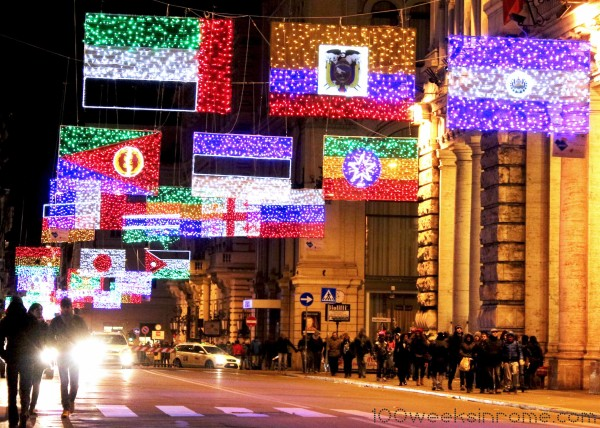 Rome Corso Flag Christmas Lights