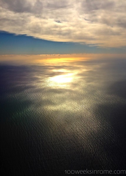 Barcelona Sea from plane